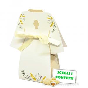 Portaconfetti tunica Prima Comunione 6x4x11.5 cm - Scatole comunione
