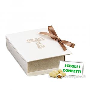 Portaconfetti libro Prima Comunione con Croce Tau 7x6x2.5 cm - Scatole comunione