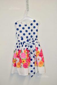 Vestito Bambina Allegra 6 Anni Bianco Con Pois Blu E Fiori