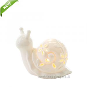 Lumaca bianca con luce LED in porcellana 9.5x4.5x7 cm - Bomboniera