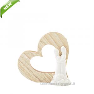 Sposi in porcellana con cuore in legno 8x2.5x7.5 cm - Bomboniera matrimonio