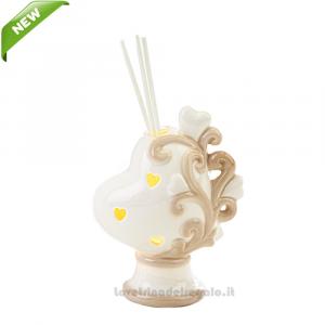 Profumatore Cuore e luce LED in porcellana 9x5.5x12 cm - Bomboniera matrimonio