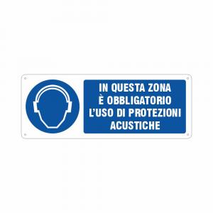 Cartello in questa zona è obbligatorio l'uso di protezioni acustiche