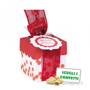 Portaconfetti rosso a pois con bollino 5x5x5 cm - Scatole bomboniera laurea