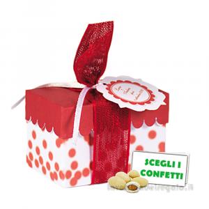 Portaconfetti rosso a pois con bollino 8x5x5 cm - Scatole bomboniera laurea