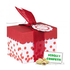 Portaconfetti rosso a pois con bollino 9x7x7 cm - Scatole bomboniera laurea