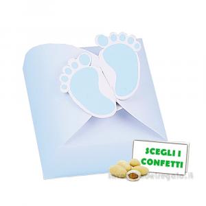 Portaconfetti Baby Birba Celeste con piedini 5.5x5.5x4.3 cm - Scatole battesimo bimbo