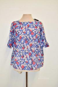 Camicia Donna Fantasia Floreale Blu Pinko Tg M