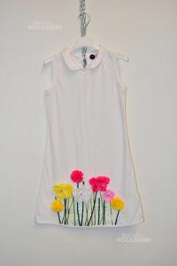 Vestito Bambina Monnalisa 10a Bianco Con Fiori, Cotone