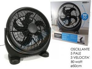 Ventilatore Colore Nero Con 5 Pale e 3 Velocità 80 Watt Portatile Pratico Comodo Casa Elettrodomestici
