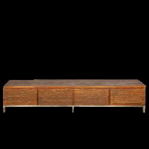 Porta TV con 2 cassetti / 1 anta centrale in legno di palissandro indiano opaco con gambe in acciaio inox