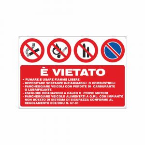 Cartello Autorimessa veicoli gpl regolamento ECE ONU 67-01