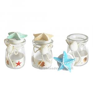 Barattolino di vetro con stella marina 10 cm - Bomboniere matrimonio e comunione