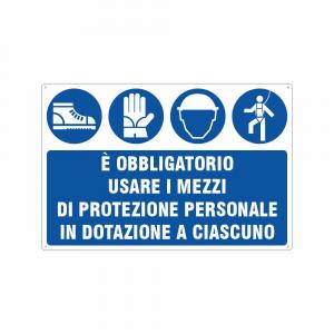 Cartello è obbligatorio usare i mezzi di protezione individuale