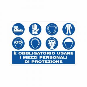 Cartello è obbligatorio usare i mezzi personali di protezione