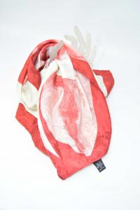 Foulard In Seta 100% Rosso Grigio Con Fiori 85 X 85 Cm