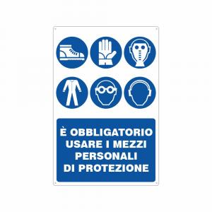 Cartello è obbligatorio usare i mezzi personali di protezione 6 simboli