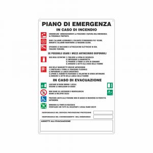 Cartello Piano di emergenza in caso di incendio