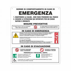 Cartello norme di comportamento in caso di emergenza