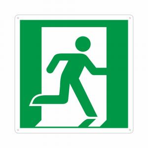Cartello con simbolo E002 percorso di esodo a destra norma ISO