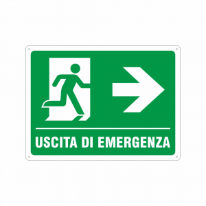 Cartello Uscita di emergenza a destra UNI EN ISO 7010