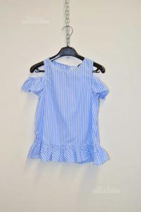Vestito Bambina Ovs Righe Bianche Azzurre 7 8 Anni