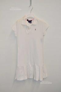 Vestito Bambina Ralph Lauren Tg. Xl 16 Anni Bianco 98% Cotone