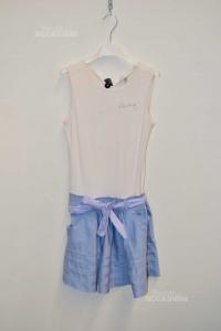 Vestito Bambina Peuterey Tg L Azzurro Bianco Con Cintura