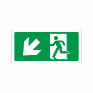 Cartello percorso di emergenza in basso a sinistra