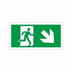 Cartello percorso di emergenza in basso a destra