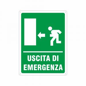 Cartello Uscita di emergenza a sinistra