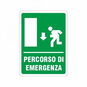 Cartello Percorso di emergenza in avanti