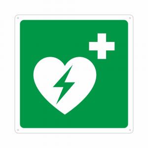 Cartello con simbolo defibrillatore