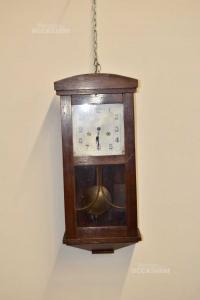 Orologio A Pendolo In Legno Scuro Junghans Compreso Di Caricatore E Cassa