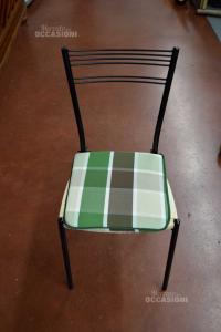 Sedie In Ferro Nere, Seduta Impagliata, Con Cuscino 8 Pezzi