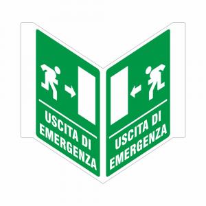 Cartello uscita di emergenza bifacciale