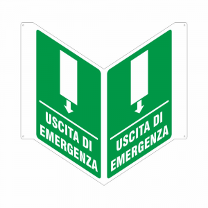 Cartello uscita di emergenza bifacciale sopraporta