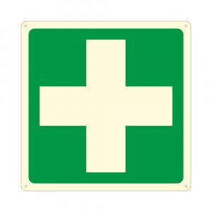 Cartello luminescente con simbolo E003 pronto soccorso first aid