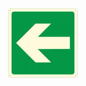 Cartello luminescente con simbolo E005 freccia direzionale