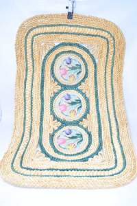 Carpet In Straw With Embroidery Central Flowers 46x72 Cm