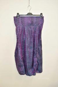 Skirt Woman 100% Silk Purple With Drawings Black