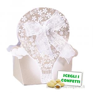Portaconfetti Tortora a forma di Mongolfiera 6x4x9 cm - Scatole matrimonio