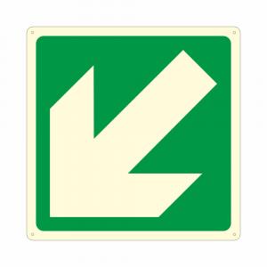 Cartello luminescente E006 freccia direzionale obliqua orientata a 45 gradi