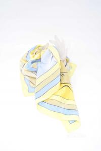 Foulard Seta Giallo Azzurro Grigio Donna 85x85 Cm