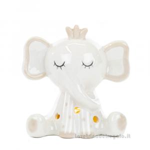 Elefantino bianco con luce LED in porcellana 5x8x7.5 cm - Bomboniera