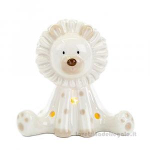 Leone bianco con luce LED in porcellana 5x8x7.5 cm - Bomboniera
