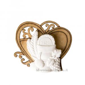 Cuore in legno con gessetto Calice Prima Comunione 5.5 cm - Decorazioni comunione