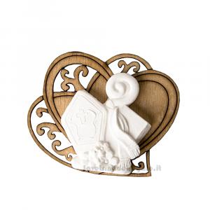 Cuore in legno con gessetto Cappello Papale Santa Cresima 5.5 cm - Decorazioni cresima
