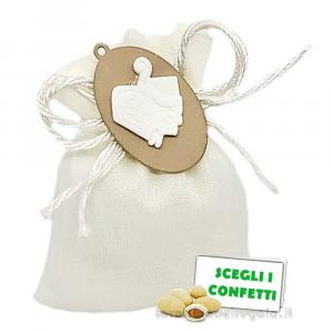 Portaconfetti con applicazione Cappello Papale 9x11 cm - Sacchetti cresima