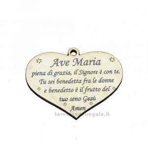 Ciondolo Cuore in legno con preghiera Ave Maria 5 cm - Decorazioni comunione